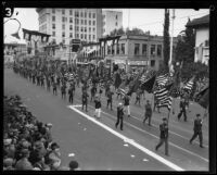 Color guard in the Tournament of Roses Parade, Pasadena, 1928