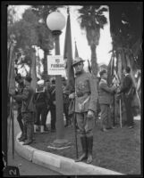 Tournament of Roses Parade participant in an army uniform, Pasadena, 1928