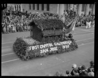 """First State Capitol California"" float in the Tournament of Roses Parade, Pasadena, 1928"