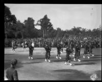 """Pasadena Bagpipe Band"" in Tournament of Roses Parade, Pasadena, 1929"