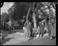 Spectators on a residential street near the Tournament of Roses Parade, Pasadena, 1929
