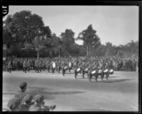 Marching band of the Beverly Hills Post No 253 (?) of the American Legion at the Tournament of Roses Parade, Pasadena, 1929