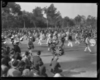 Los Angeles American Legion Drum and Bugle Corps in the  Tournament of Roses Parade, Pasadena, 1930