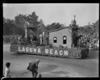 California mission wedding float in the Tournament of Roses Parade, Pasadena, 1930