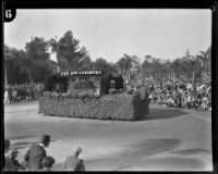 American Legion float promoting peace in the Tournament of Roses Parade, Pasadena, 1930