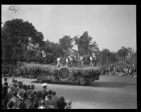 Lake Arrowhead winter sports float in the Tournament of Roses Parade, Pasadena, 1930