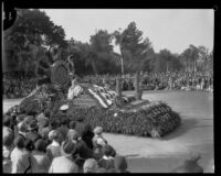 """Flag Day 1777"" float in the Tournament of Roses Parade, Pasadena, 1930"