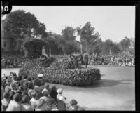 """California Raisin Day"" float in the Tournament of Roses Parade, Pasadena, 1930"