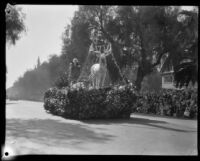 """Christmas Day"" float in the Tournament of Roses Parade, Pasadena, 1930"
