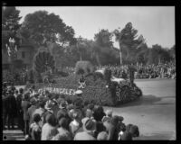 """California Admission Day"" float in the Tournament of Roses Parade, Pasadena, 1930"