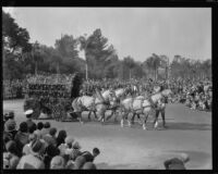 Floral covered wagon in the Tournament of Roses Parade, Pasadena, 1930