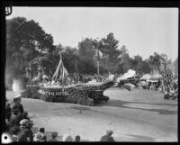 "Huntington Hotel's ""May Day"" float in the Tournament of Roses Parade, Pasadena, 1930"