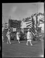 Banner announcing the Girls Band of Taft Union High School in the Tournament of Roses Parade, Pasadena, 1930
