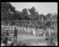 ROTC members marching with rifles at the Tournament of Roses Parade, Pasadena, 1930