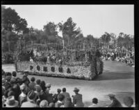 """Festival Days in Flowers"" float in the Tournament of Roses Parade, Pasadena, 1930"