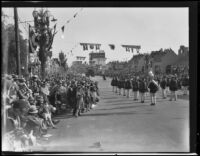 Spectators along the Rose Parade route on West Colorado Blvd., Pasadena, 1930