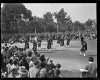 Pasadena Bag Pipe Band at the Tournament of Roses Parade, Pasadena, 1930