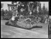 Pasadena Clearinghouse float in the Tournament of Roses Parade, Pasadena, 1931