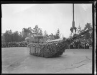 Float in the form of a floral boat in the Tournament of Roses Parade, Pasadena, 1931