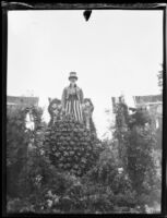 """Uncle Sam Helping the Raisin Growers"" float in the Tournament of Roses Parade, Pasadena, 1931"