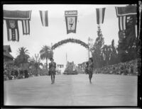"Floral banner announcing the ""Dream Castle"" float in the Tournament of Roses Parade, Pasadena, 1931"