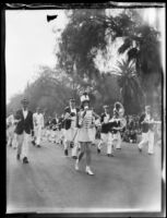 Marching band in the Tournament of Roses Parade, Pasadena, 1931