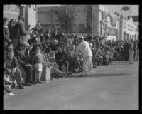 Food vendor selling breakfast to spectators on the route of the Tournament of Roses Parade, Pasadena, 1932