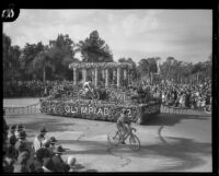 Greek temple float in the Tournament of Roses Parade, Pasadena, 1932