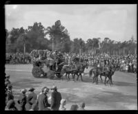 Horse-drawn floral carriage in the Tournament of Roses Parade, Pasadena, 1932