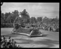 """Trojans"" float in the Tournament of Roses Parade, Pasadena, 1932"