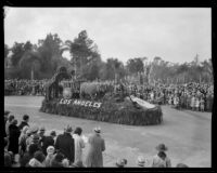 """Ox Cart"" float in the Tournament of Roses Parade, Pasadena, 1932"