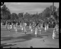 Selby's Girls' Band in the Tournament of Roses Parade, Pasadena, 1932
