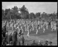 Marching band in the Tournament of Roses Parade, Pasadena, 1932