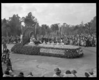 """Olympic rowing events"" float in the Tournament of Roses Parade, Pasadena, 1932"