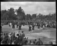 Bagpipe band in the Tournament of Roses Parade, Pasadena, 1932