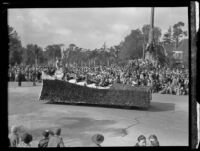 """Girls P.J.C. Band"" float in the Tournament of Roses Parade, Pasadena, 1932"