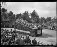 """St. Elizabeths Boys Band"" float in the Tournament of Roses Parade, Pasadena, 1932"