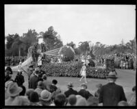 Globe float in the Tournament of Roses Parade, Pasadena, 1932