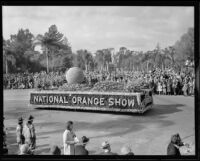 National Orange show float in the Tournament of Roses Parade, Pasadena, 1932