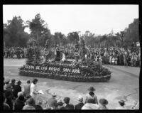Victorious athlete float in the Tournament of Roses Parade, Pasadena, 1932