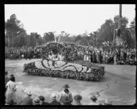 Los Angeles County Board of supervisors automobile in the Tournament of Roses Parade, Pasadena, 1932