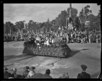 Small band in a decorated automobile in the Tournament of Roses Parade, Pasadena, 1932