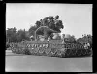 """Fairyland"" float in the Tournament of Roses Parade, Pasadena, 1933"