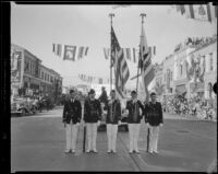 Color guard in the Tournament of Roses Parade, Pasadena, 1933