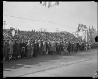 Spectators in grandstand seating at the Tournament of Roses Parade, Pasadena, 1933