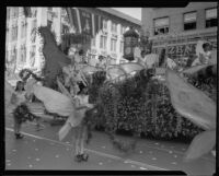 """Queen of the Fairies"" float in the Tournament of Roses Parade, Pasadena, 1933"
