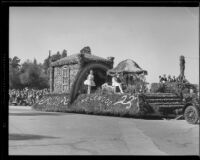 """Rainbow Palace"" float in the Tournament of Roses Parade, Pasadena, 1933"