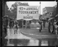 Banner announcing the Tournament of Roses Parade, Pasadena, 1934