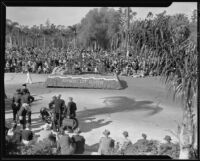 """Legend of the Chrysanthemum"" float in the Tournament of Roses Parade, Pasadena, 1935"