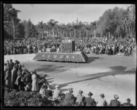 """Legend of King Arthur"" float in the Tournament of Roses Parade, Pasadena, 1935"